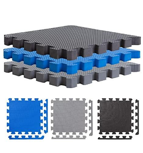 BodenMax Lot de 6 tapis de protection avec bordures 30 x 30 cm, 2,5 cm pour sol   Fitness   Tapis de sol   Tapis de fitness pour la protection du sol – Sport, salle de fitness, cave, 25 mm – Noir