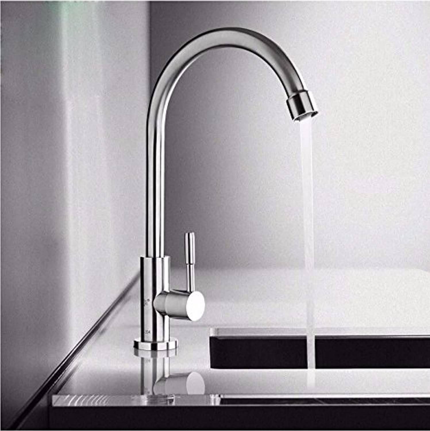 Commercial Single Lever Pull Down Kitchen Sink Faucet Brass Constructed Polished Kitchen Sink Stainless Steel Brushed Single Cold Faucet, redating Lead-Free Rust-Free Anti-Drip Faucet