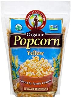 Grain Place Foods Non-GMO Organic Yellow Popcorn 2lb Bag
