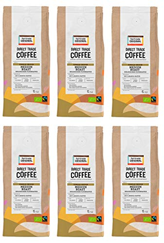 Bio Filterkaffee (6 x 250 g) | Direct Trade Coffee | von Fairtrade Original | Filterkaffee gemahlen | Bio und fair trade zertifiziertes Kaffeepulver | Medium Roast Kaffee aus Kolumbien