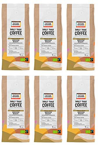 Bio Filterkaffee (6 x 250 g) | Direct Trade Coffee | von Fairtrade Original | Filterkaffee gemahlen | Bio und fair trade zertifiziertes Kaffeepulver | Medium Roast Kaffee aus Kolumbien