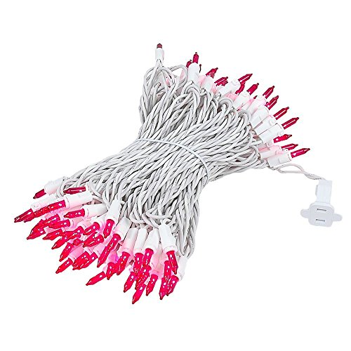 Novelty Lights 100 Light Pink Christmas Wedding Mini String Light Set, White Wire, Indoor/Outdoor UL Listed, 50' Long