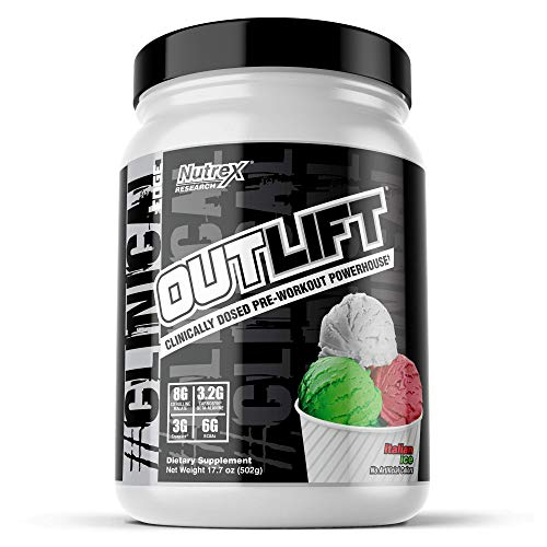 Outlift Pre-Workout Powerhouse, Best Pre Workout with Citrulline, BCAA, Creatine, Beta-Alanine, Banned Substance Free | Italian Ice 20 Servings