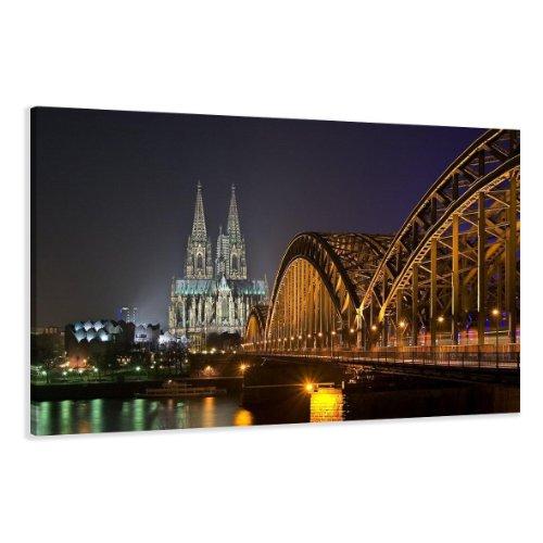 bestpricepictures 120 x 80 cm Bild auf Leinwand Köln 5075-SCT deutsche Marke und Lager - Die Bilder/das Wandbild/der Kunstdruck ist fertig gerahmt