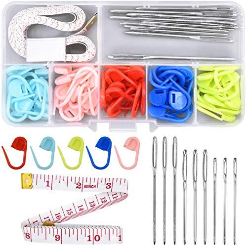 HQdeal Stricken zubehör, 60 Stück maschenmarkierer, Mehrfarbig Häkeln Nadel Klip, Häkelhaken Set für Stricken Häkeln