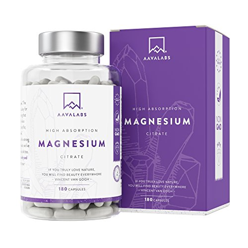 Magnesium Hochdosiert Kapseln - Magnesiumcitrat Pulver - 448.8mg elementares Magnesium pro Tagesdosis (2 Kapseln) - 180 Pure Magnesium Kapseln - Hohe bioverfügbarkeit - Vegan Magnesium Citrate