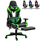 Green Ergonomic Massage Gaming Chair Video PC Chair Racing Reclining Gaming Computer Chair with Footrest High Back Executive Office Desk Chair PU Leather Adjustable Swivel Task Chair