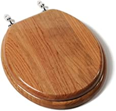 Comfort Seats C1B1R-17CH Designer Solid Wood Toilet Seat with Chrome Hinges, Round, Oak