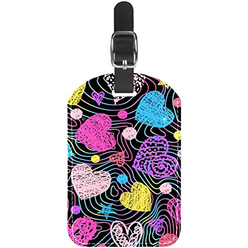 Etiquetas de equipaje de cuero con líneas coloridas, color rosa, azul, amarillo, corazón, para maleta de viaje, 1 paquete