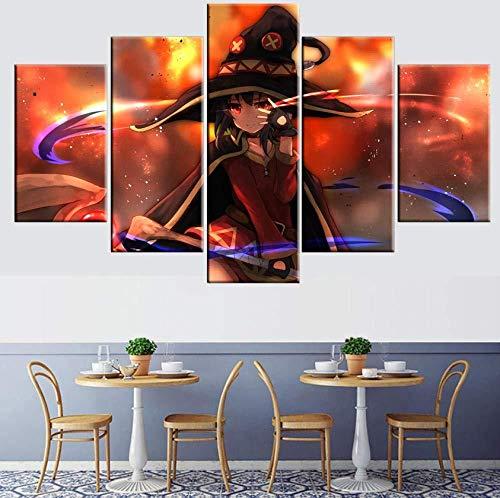 Generic Leinwand 5 Stücke Poster Anime Konosuba Wohnzimmer Moderne Wohnkultur (Kein Rahmen) Größe C- (Kein Rahmen) Größe A