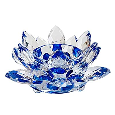 """Goldeal Crystal Flower Tealight Candle Holder,Colorful Glass Candle Holder with Gift Box for Romantic Candle Dinners, Wedding, Bathroom, Livingroom.(4.4"""" W 2.2"""" H) (Blue)"""