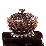 Quemador de incienso Debon, rojo, aleación de bronce, forma de loto, horno de aroma,...