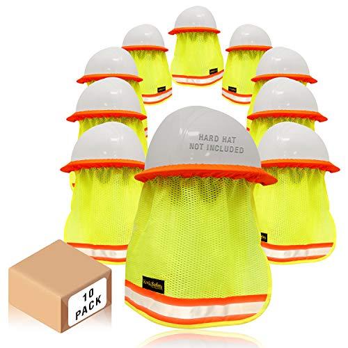KwikSafety (Charlotte, NC) VADER (10 Pack) DURABLE ELASTIC Hard Hat Sun Shade High Visibility Cooling Mesh Contrasting Reflective Strip Regular Brim Neck Protection Construction Helmet Sun Shield