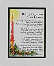 Merry Christmas from Heaven, 188, Touching 8x10 Poem, Double-matted in White Over Dark Green and Enhanced with Watercolor Graphics. A Sympathy Remembrance Memorial Gift.