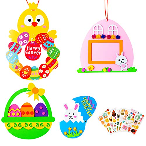 MALLMALL6 12Pcs Easter DIY EVA Art Craft Kit with Easter Happy Bunny Green Egg Basket Chick Hanging Decoration Pink Easter Photo Frame and Easter Sticker for Kids Favor Decor Springtime Party Supplies