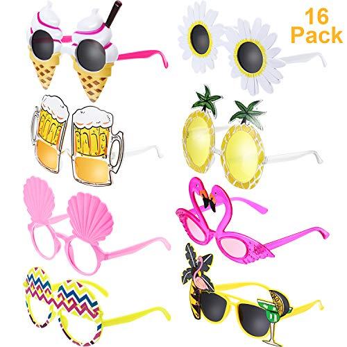 Chinco 16 Pares de Gafas de Fiesta Divertidas Gafas Hawaianas Tropicales para Fiesta Luau Tropical Disfraz Gafas para Niños y Adultos, 8 Estilos