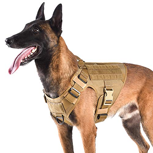 """ICEFANG Lightweighting Tactical Dog Harness with Handle,Working Dog Training Molle Vest,No-Pull Front Leash Clip, Hook and Loop Panel for Dog ID Patch (L(Chest 28""""-35""""), Coyote Brown)"""