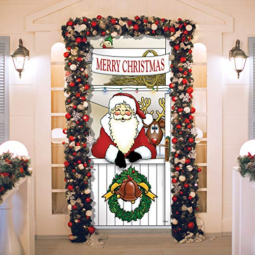 Victory Corps Outdoor Christmas Holiday Front Door Banner Cover Mural Décoration - Christmas Front Door Banner Decor - Santa's Reindeer Barn