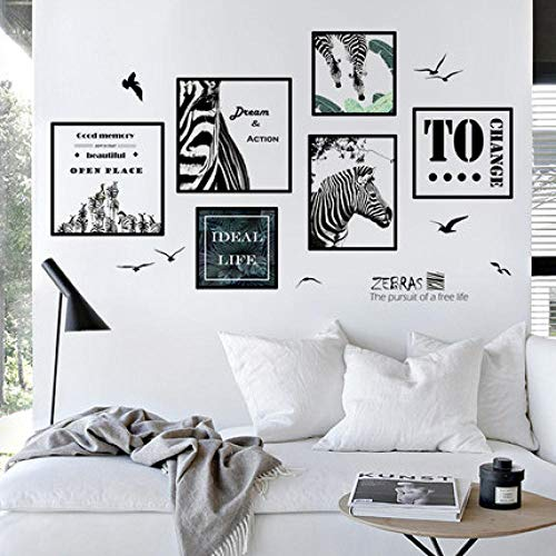 Cartel nórdico simple Etiqueta de la pared Personalidad Marco de fotos de cebra Sala de estar Decoración TV Fondo Papel pintado Pintura Resumen