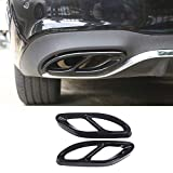 Car Exterior Exhaust Pipe Mufflers Cover Rear Bumper Cylinder Exhaust Pipe Decorate Cover for Mercedes-Benz A B C E CLA GLC GLE GLS Class W205 W213 X253 (Black)