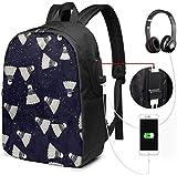 Mochila con Interfaz USB Unisex Backpack with USB Charging Port Badminton in Dream Stars Classic Fashion General Business Bookbag