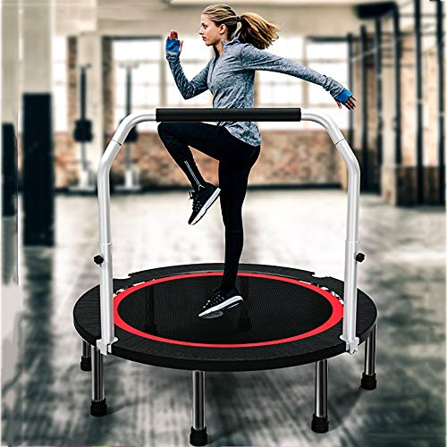 Saturey Indoor Fitness-Trampolin, Sports Fitnesstrampolin Klappfunktion Optional Ø 100Cm Leistungsstark Bis 350 Kg Benutzergewicht