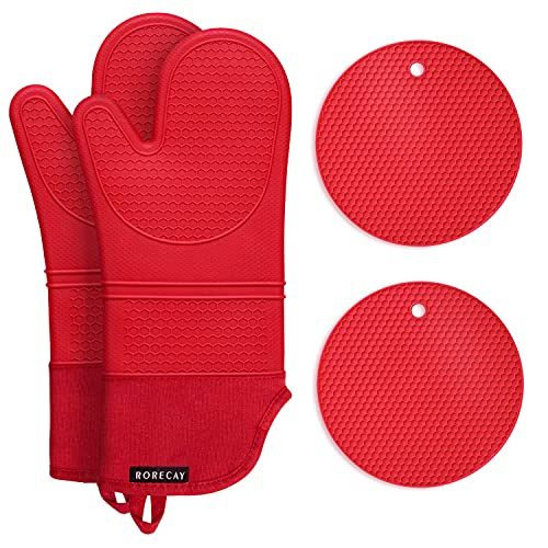 Rorecay Silicone Oven Mitts and Pot Holders Sets: Heat Resistant Hot Pads and Oven Mits, Non Slip Mittens and Potholders for Kitchens, Quilted Liner, Red, Extra Long Oven Gloves for Cooking Baking