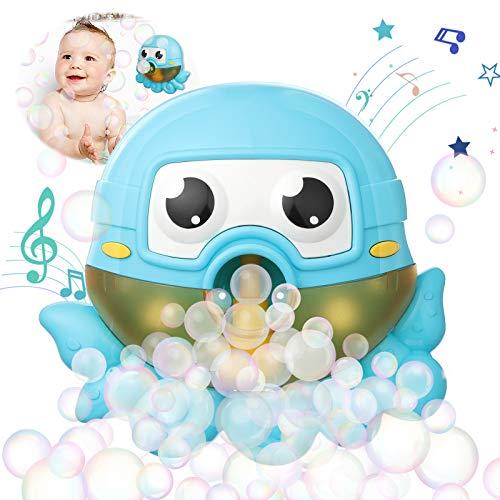 ZWOOS Juguete de Baño para Bebé,Máquina de Burbujas de Baño Máquina Automática de Burbujas Que Sopla Bubble Maker Juguetes del Baño Pulpo de Burbuja con Música Infantil para Niños