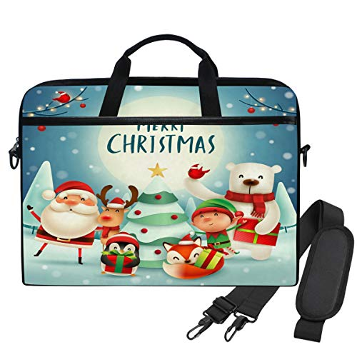 Emoya Laptopn Bag Christmas Santa Reindeer Elf Polar Bear Fox Penguin Cardinal Messenger Laptop Shoulder Bag Compatible 13.3-14 Inch Computer