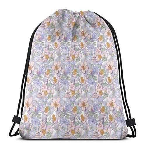 XCNGG Bolsos con cordón Bolsa de deporte para gimnasia Viaje, Flores clásicas de vida silvestre Iris y Ramo de lirio Pastel Boda nupcial Concepto femenino