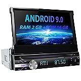 AWESAFE Android 9.0 7 Pulgadas Pantalla Universal 1 DIN Radio, Autoradio 1 DIN con CD DVD/WiFi/Navegador GPS/Bluetooth/Mandos Volantes/RDS/USB/SD/Subwoofer/Mirror Link