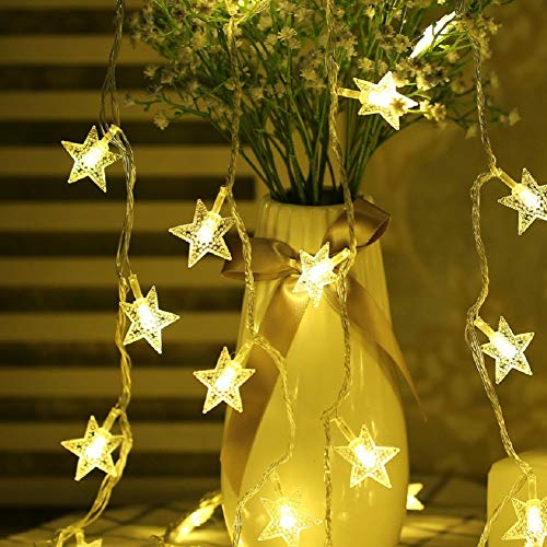 Fairy Lights Battery Powered Stars String Lights 5M 40 LED Battery Operated Decorative Lighting for Christmas Wedding Birthday Indoor Outdoor Use(Warm White)