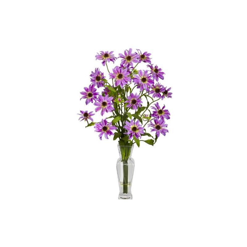 silk flower arrangements nearly natural 1172-pp cosmos with vase silk flower arrangement, purple