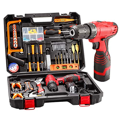 drill with tools Cordless Hammer Drill Tool Kit, 60Pcs Household Power Tools Drill Set with 16.8V Lithium Driver Claw Hammer Wrenches Pliers DIY Accessories Tool Kit
