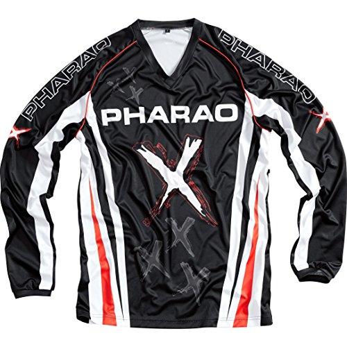 Pharao X Shirt, Jersey, Textiljersey, Crossjersey, pflegeleichtes und schweißabsorbierendes Material, kompatibel mit Allen erhältlichen Neck Brace Modellen, Schwarz/Weiß/Rot XL