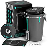 Coffee Gator Stainless Canister Steel Beans and Coffee Grounds Container Large Grey