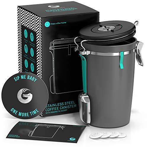 Coffee Gator Edelstahlbehälter Kaffeedose – Mit CO2-Ablassventil, magnetischem Löffel und Beutelaufbewahrungs-Clip – Für 645 g Bohnen – 1,9 L Fassungsvermögen