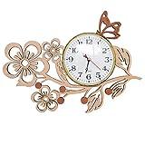 Giftgarden Papillon Fleur Horloge Murale en Bois 3D Vintage, Chambre Salon Bureau,Cadeau créatif