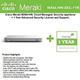 Cisco Meraki MX64 Small Branch Security Appliance Bundle, 200Mbps FW, 5xGbE Ports - Includes 1 Year Advanced Security License