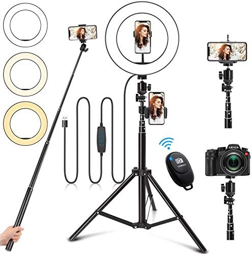 Selfie Ring Light with Stand 10 Ring Light with Tripod Stand 3 Phone Holder Dimmable LED Ring product image