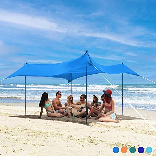 Bessport Strandzelt Sonnenschutz Kommt mit 4 Sandsäcken und 4 Aluminiumstangen 3mx3m | UPF 50+ UV Sonnenschutz | Portable Baldachin Sunshade Geeignet für Familienstrände Camping Gärten Picknicks