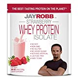 Jay Robb Whey Isolate Protein Powder, Low Carb, Keto, Vegetarian, Gluten Free, Lactose Free, No Sugar Added, No Fat, No Soy, Nothing Artificial, Non-GMO, Best-Tasting, 75 Servings (80 oz, Strawberry)