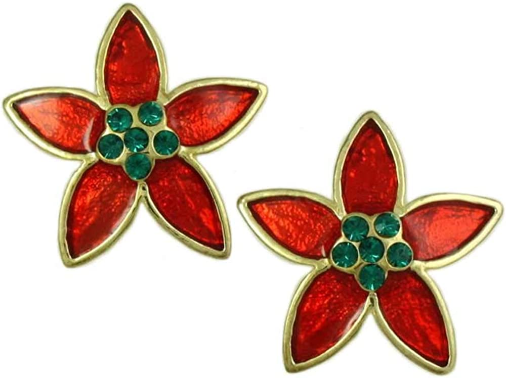Red Branded goods Outlet SALE and Green Christmas Clip Earring Poinsettia