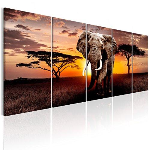 decomonkey Bilder Afrika Tiere Elefant 200x80 cm 5 TLG. Leinwandbilder XXL Bild auf Leinwand Vlies Wandbild Kunstdruck Wanddeko Wand Wohnzimmer Wanddekoration Deko Landschaft Baum braun