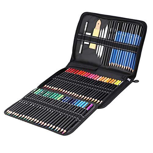 GAESHOW 95 piezas Kit de herramientas de dibujo de pintura artística con lápiz de color Lápiz de grafito Lápiz de carbón Borrador de lápiz de color