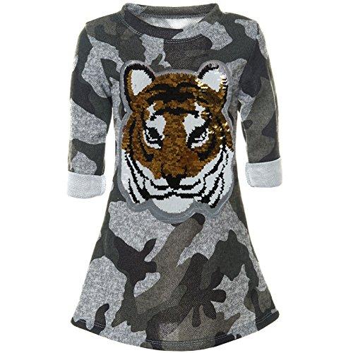 BEZLIT Mädchen Tieger Wende-Pailletten Tunika Langarm Kleid Camouflage 21568 Grau Größe 116