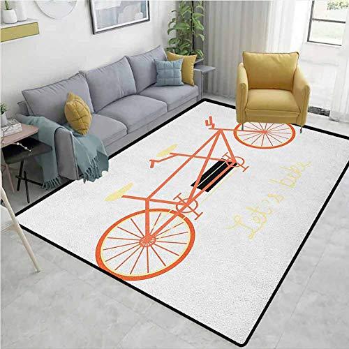 YucouHome Alfombra Tradicional para Bicicleta, Sala de Estar, Frase a Mano y vehículo Retro, Ideal para el Verano, salón de Clase Alta de Moda (5 x 8 pies), Color Negro Coral y Amarillo pálido