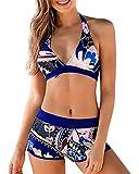 Yutdeng Costume da Bagno Donna Vita Alta Costumi da Mare Push Up Reggiseno Imbottito e Pantaloni da Nuoto Beachwear Mare Piscina Spiaggia