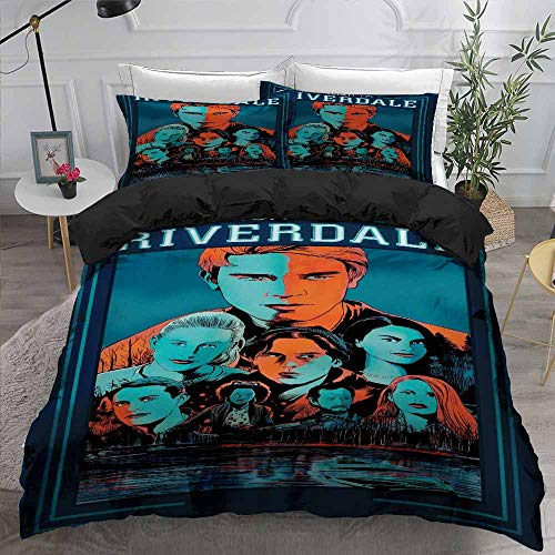 Riverdale Bedding Set, 3D Print Riverdale Duvet Cover Set with Pillow Case Southside Serpents Printed Riverdale Single/Double/King Size Kids Bedding Cover Set for Winter Autumn Summer (200x200-3pcs,)