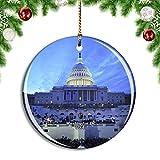 Weekino Estados Unidos América Capitol Hill Washington DC Decoración de Navidad Árbol de Navidad Adorno Colgante Ciudad Viaje Colección de Recuerdos Porcelana 2.85 Pulgadas